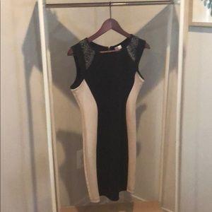 Boutique color block dress with shoulder detail
